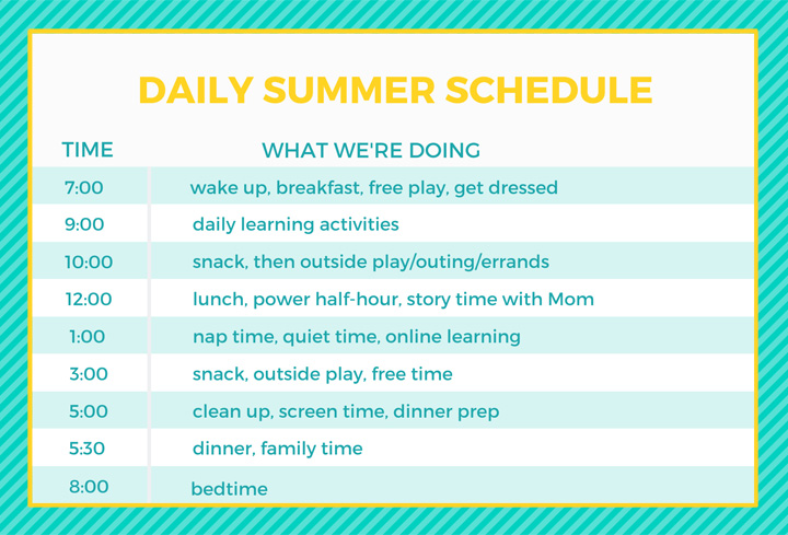 Daily summer schedule for families with young kids