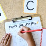 """Turn boring handwriting practice into a fun game with this free printable """"trace the alphabet"""" scavenger hunt activity."""