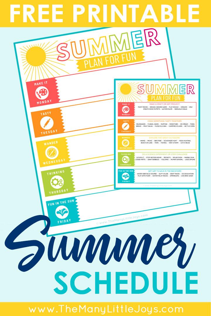 Free printable weekly summer schedule