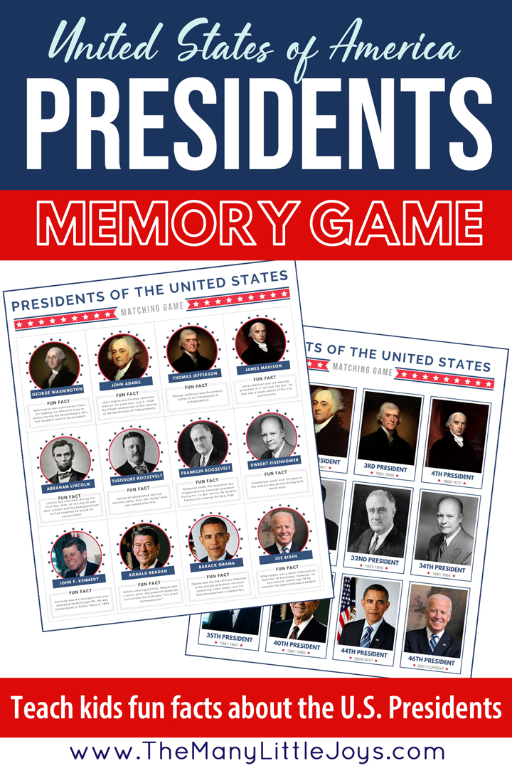 Printable US presidents memory game for kids. Help kids learn the names of the US presidents and fun facts about each one.