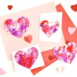 Marble painting heart valentines