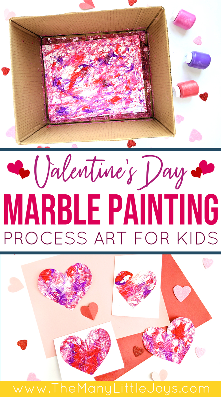 Marble painting for kids is a fun process art activity, and this Valentine's-themed version can be used to make adorable (and easy) Valentine's cards.
