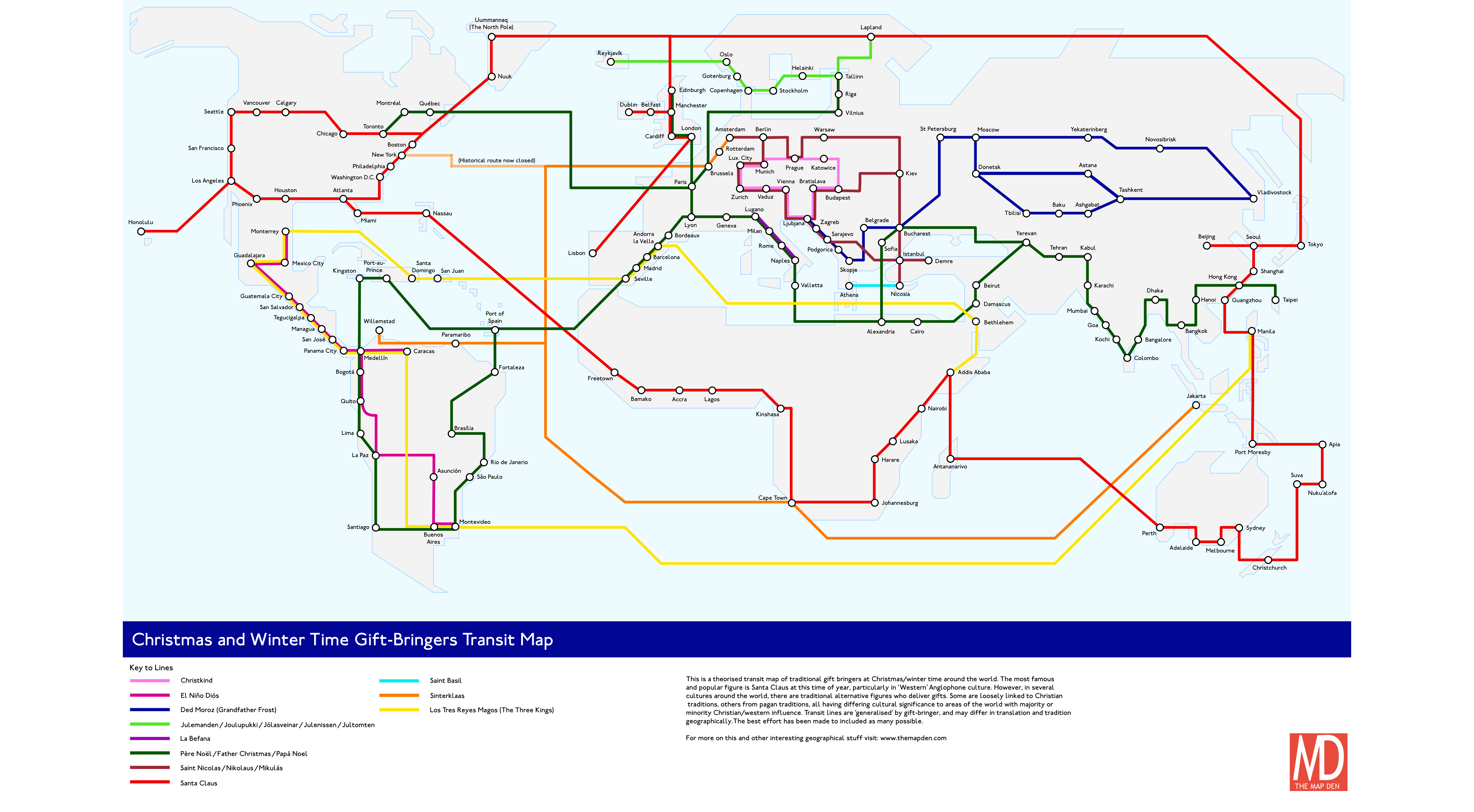La Metro Map 2018.Christmas Metro Map 2018 Who Delivers Your Presents The Map Den