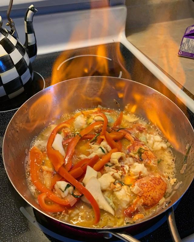 Lobster Flambe In Progress