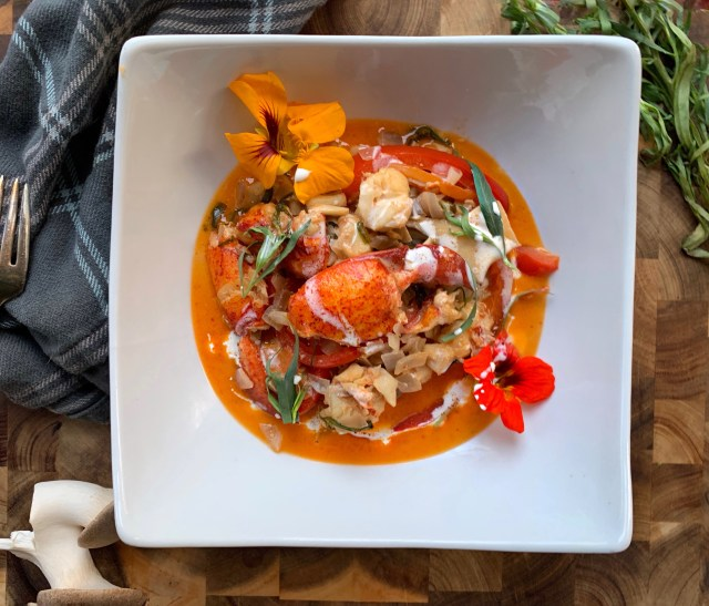 Lobster Flambe with Fresh Tarragon Cream and Flowers