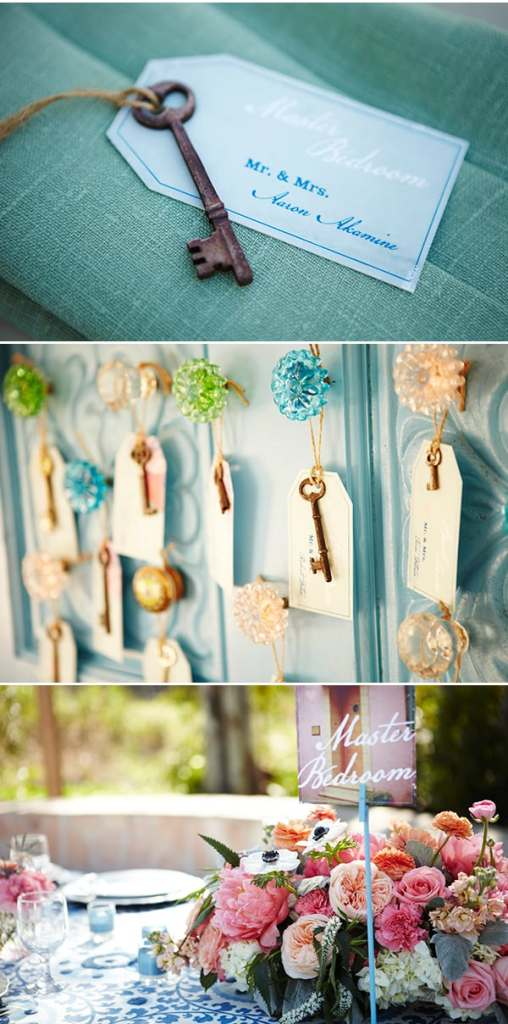 Vintage Key and Door Escort Cards