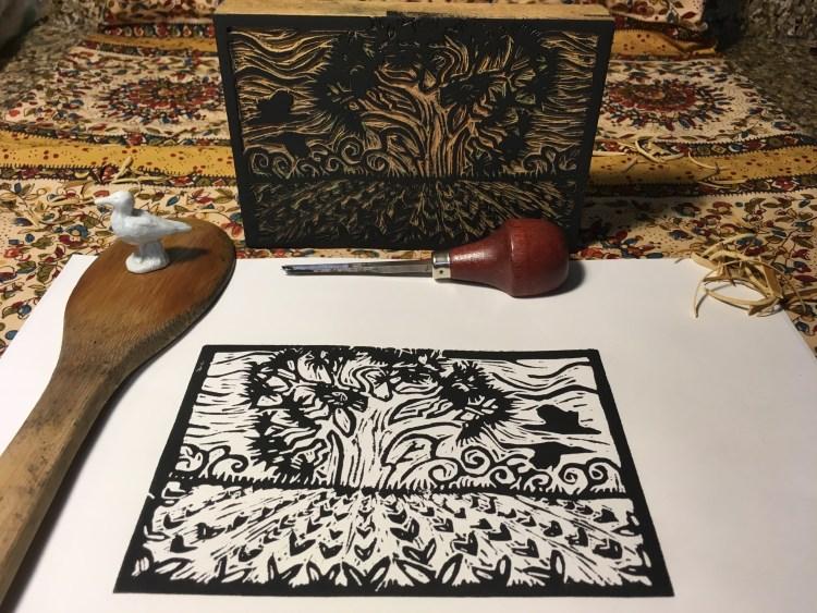 "Jesse Wilson's ""Old Pine & Sandhill Cranes"" lino block print"