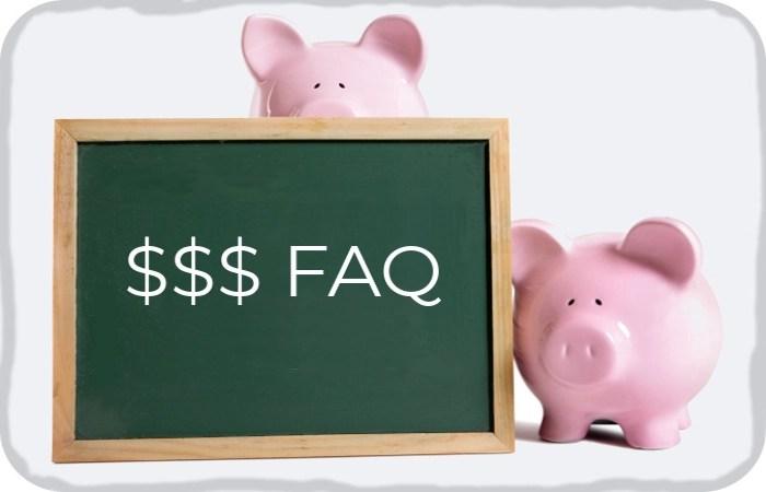 """piggy banks holding an """"$ FAQ"""" sign"""