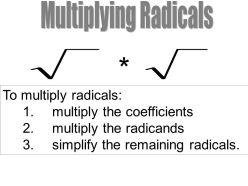 Multiplying Radicals. To multiply radicals: multiply the coefficients. multiply the radicands. simplify the remaining radicals.