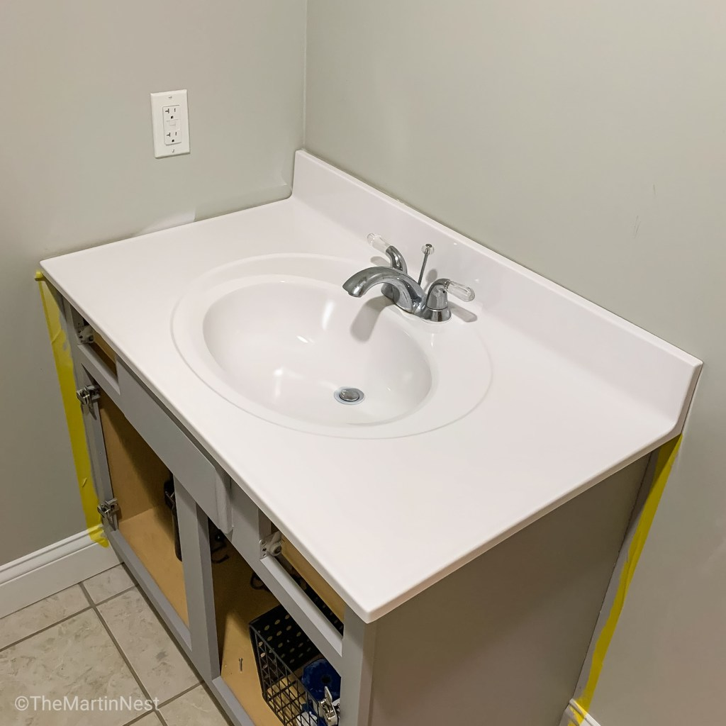 Painted bathroom sink