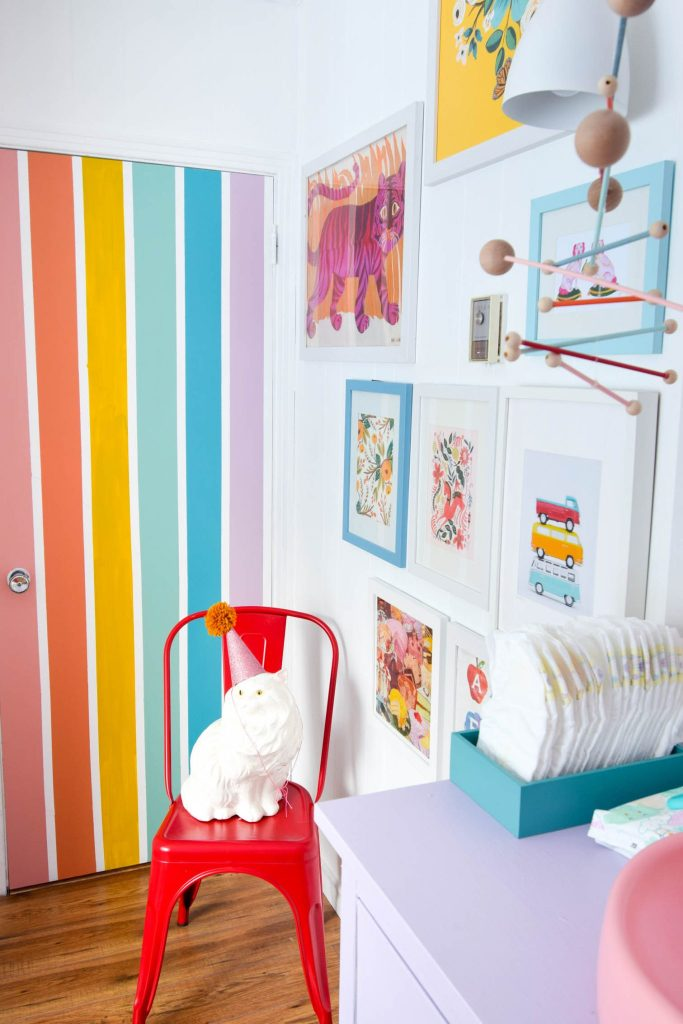 Handpainted Rainbow Nursery Door