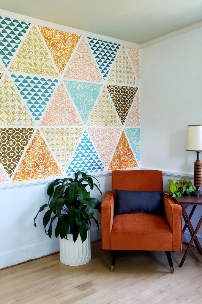 Stenciled Patchwork Accent Wall