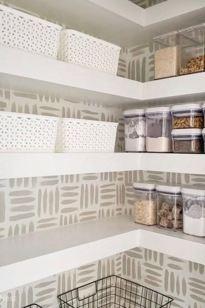 DIY Floating Corner Shelves in Pantry