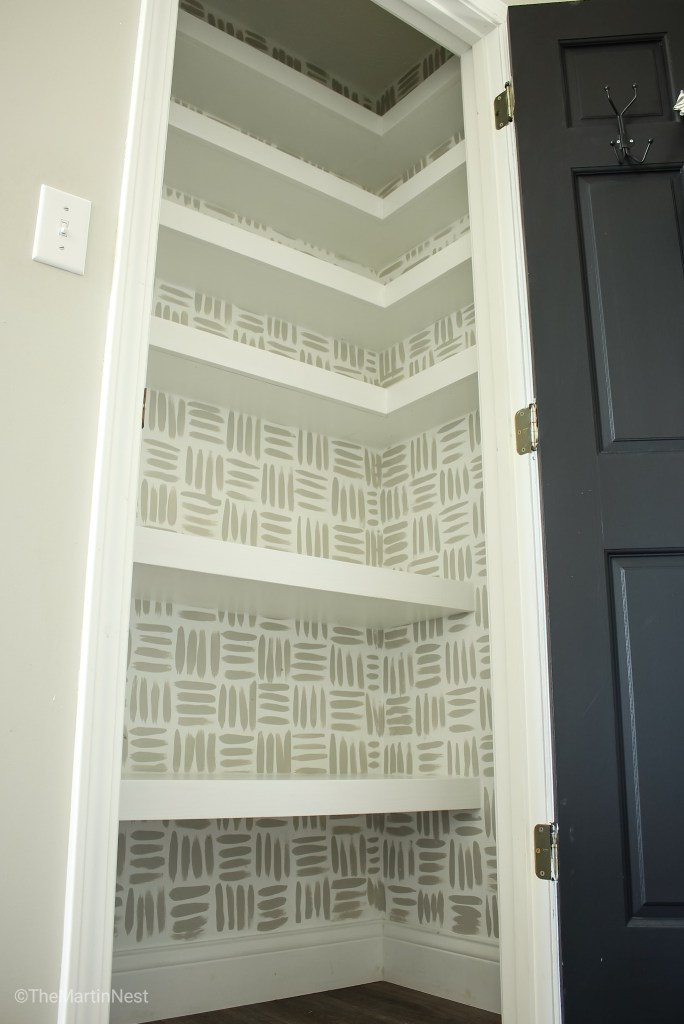 DIY Floating Corner Shelves in Pantry