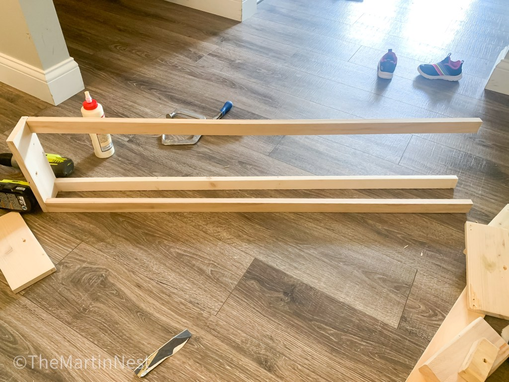 Building a DIY Bookshelf from scrap wood inspired by Pottery Barn Kids.