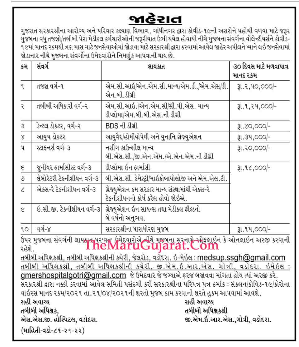 GMERS Medical College and Hospital Gotri Vadodara Recruitment 2021 For Ayush Doctor And Other Posts