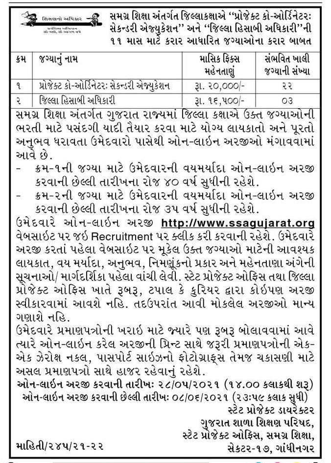 SSA Gujarat Recruitment For 22 Project Coordinator & 03 Accountant Officer Posts 2021