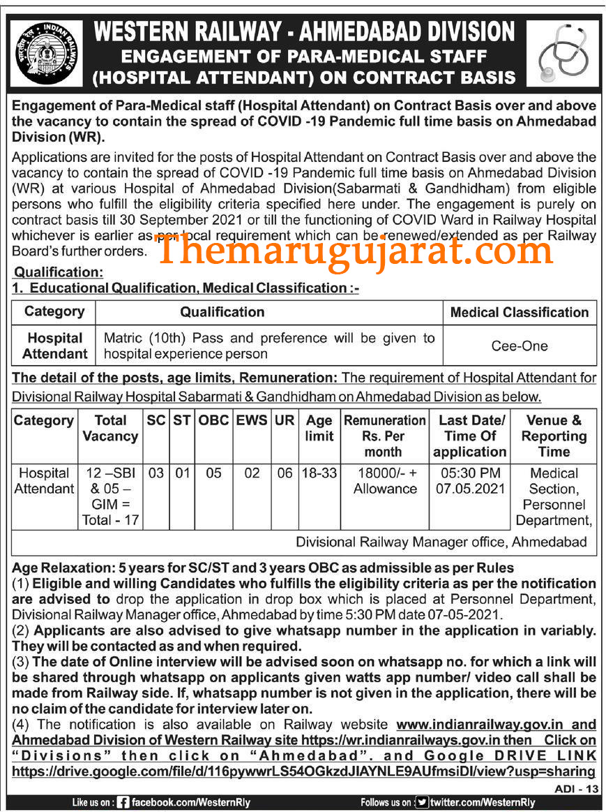 WR Ahmedabad Recruitment For Hospital Attendant Posts 2021 For 17 vacancy Ad.