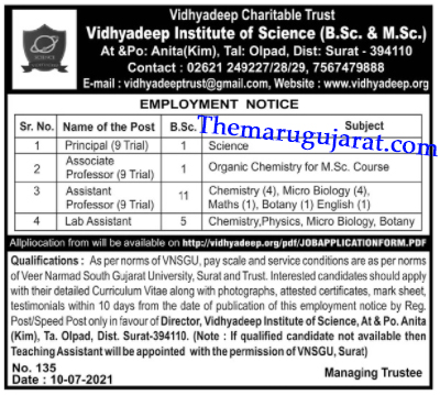 Vidhyadeep Institute of Science Recruitment For Various Posts 2021