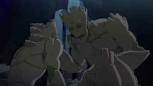 Older Groot mentors younger Groot how to maximize Grootness