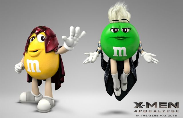 Magneto & Storm: M&M's versions.
