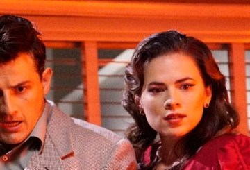 "Peggy Carter and Daniel Sousa from Agent Carter 2.01 ""Lady in the Lake."""