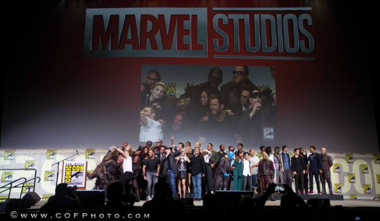 "The ""Marvel Family Photo"" including Brie Larson. (Photo credit: TMR Report Shawn Richter.)"