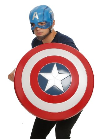 Buy a Captain America shield and helmet at Hot Topic