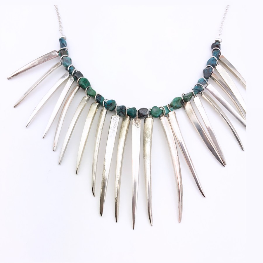 fork prong and crysocolla necklace