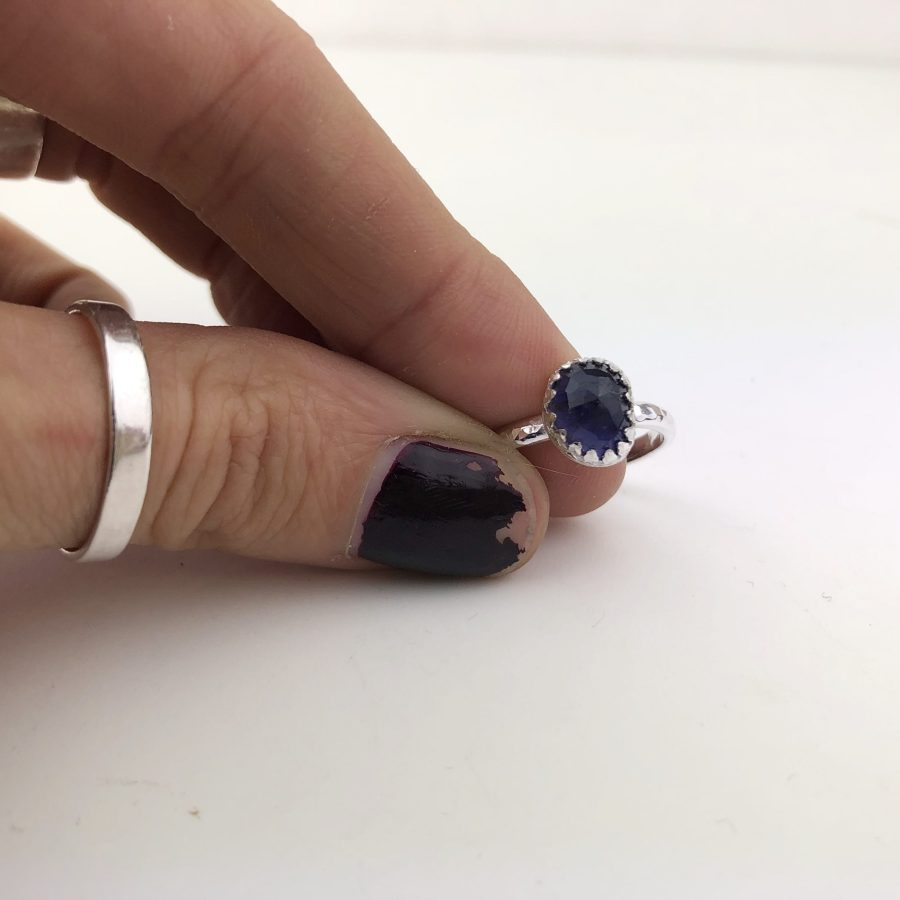 Rose cut Iolite Silver Ring