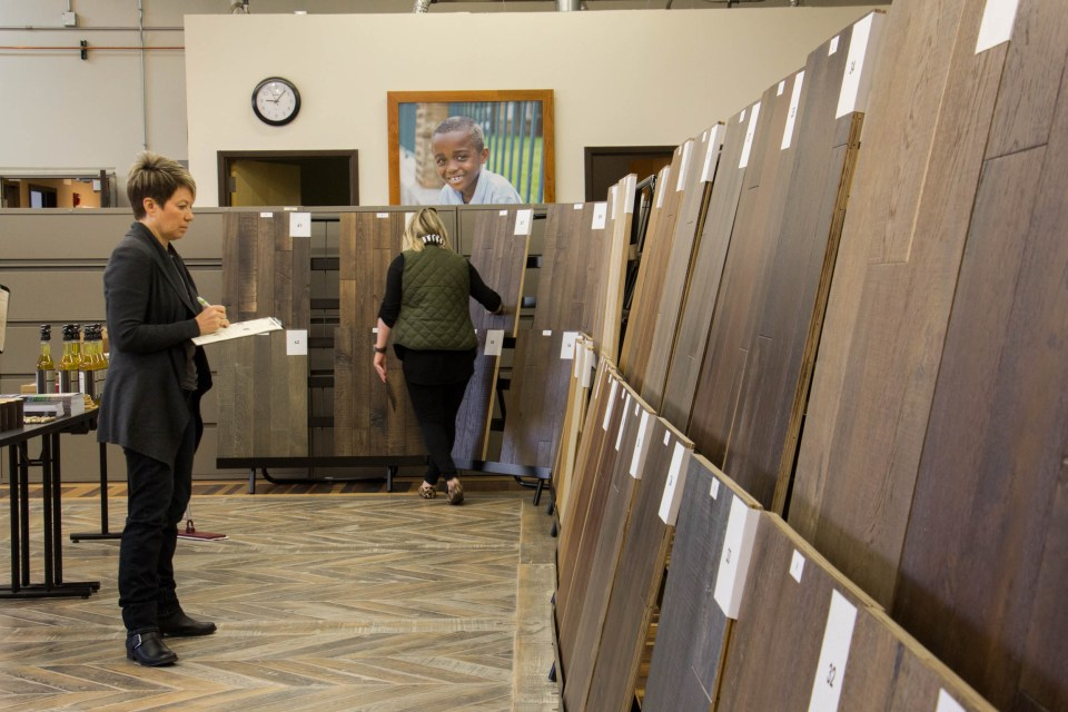 We showed over 100 samples of prefinished flooring for customers to compare our current and new options at the National Wood Flooring Association in Chesterfield, MO.