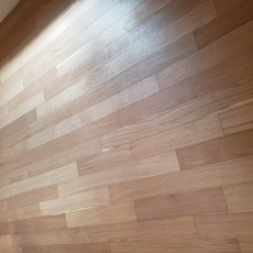 RealWood Floors engineered rift and quartered white oak - Brick and Board Solarium. Installed by trowel glue down over cement in a basement. <br /> <small>Photographer: Abbey Van Horn </small><small>    Location: Boulder, Colorado </small><small>    Business: Meyer Skidmore & Company </small><br />