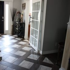 We chose to installed a beautiful porcelain tile in conjunction with the gorgeous Gallery Hermitage on our own personal home. With the beauty of these two together we decided on a patterned entryway that just takes your breath away. <br /> <small>Photographer: Donna Wing / Craig Wing </small><small>    Location: Bentonville, AR </small><small>    Business: C & D Floor Covering and Renovations LLC </small><br />