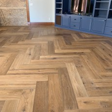 "Herringbone Vintage Loft ""Millhouse"" installed in Denver. <br /> <small>Photographer: Dean Nazarenus </small><small>    Location: Denver, CO </small><small>    Business: Rocky Mountain Wood Systems </small><br />"