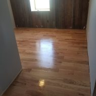 "Installed 5"" #2 red oak flooring in hunting cabin by olsburg, kansas. Also installed skirt boards, landings, treads and risers."