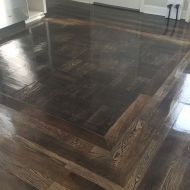 Sand & finish floor with red oak, white oak, and walnut