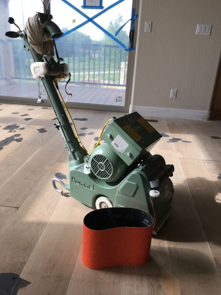 "Lagler sander with 8"" white oak floor"
