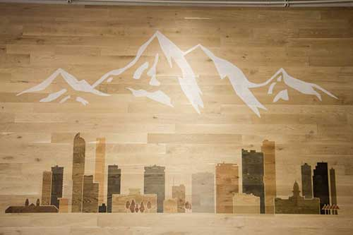 Stained Denver skyline wall