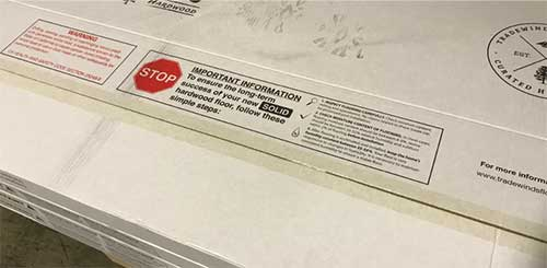 Our flooring boxes include special instructions that must be followed.