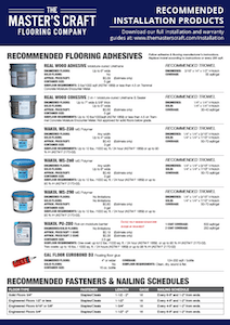 The Master's Craft Recommended Installation Products