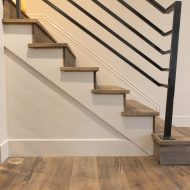 "FloorMade™  treads, nosings and vents made with Steadfast ""Tradition"" flooring."