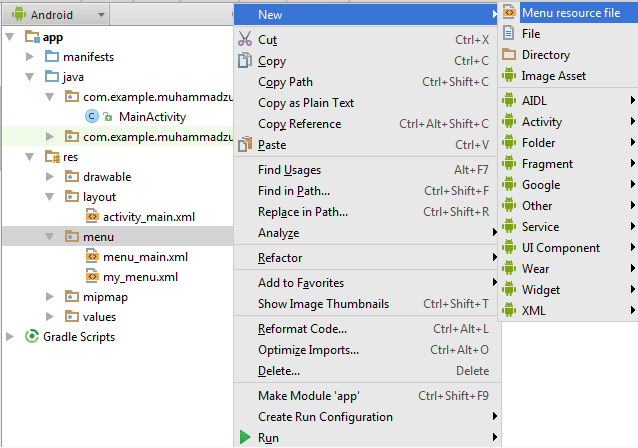Popup Menu in android studio - The Master World