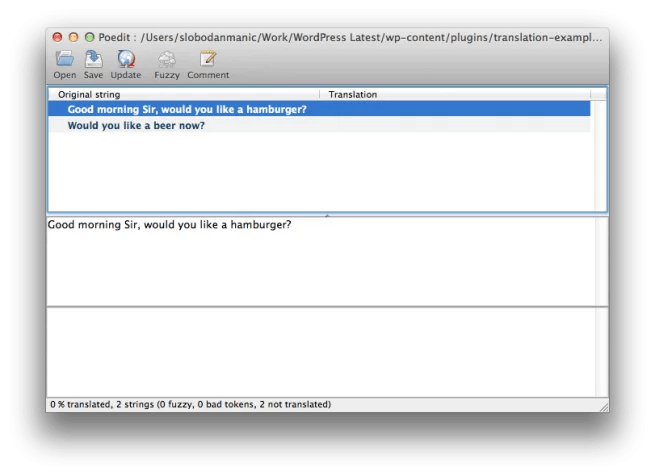 Poedit user interface