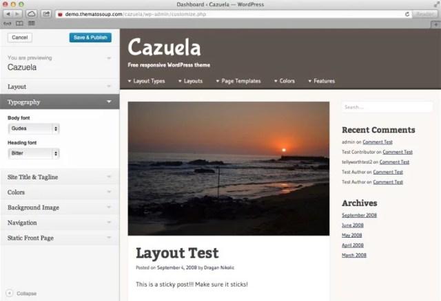 Cazuela, Theme Customizer