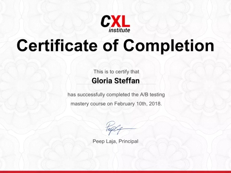 A/B Testing Online Course Certificate by CXL Institute