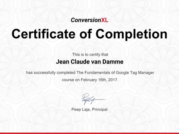 Google Tag Manager for Beginners (Fundamentals) Certificate by CXL Institute