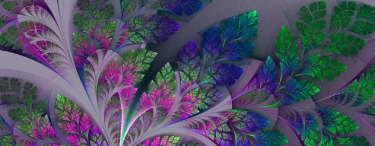 Fabulous fractal pattern in purple, blue and green. Collection - tree foliage. Computer generated graphics.