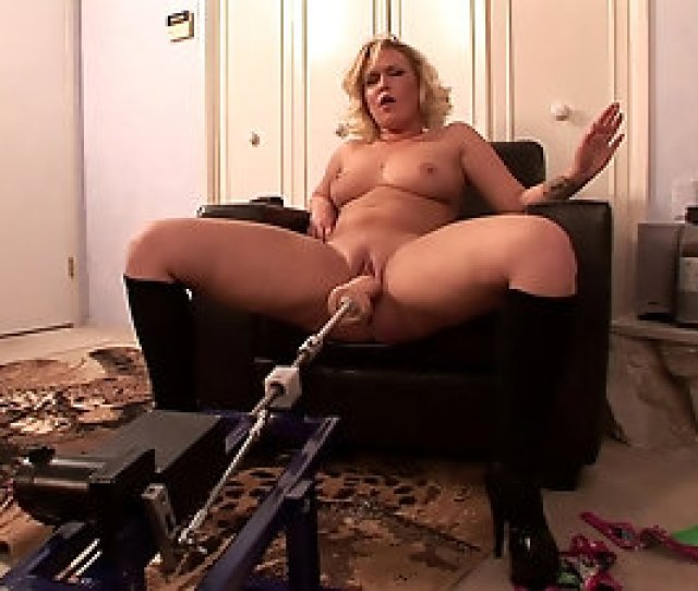 Chubby Blonde Milf Spreads Her Legs For A Fuck Machine