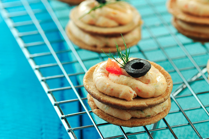 Blinis Shrimp Torte Canapes