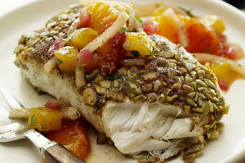 Herb crusted fish with jicama salad